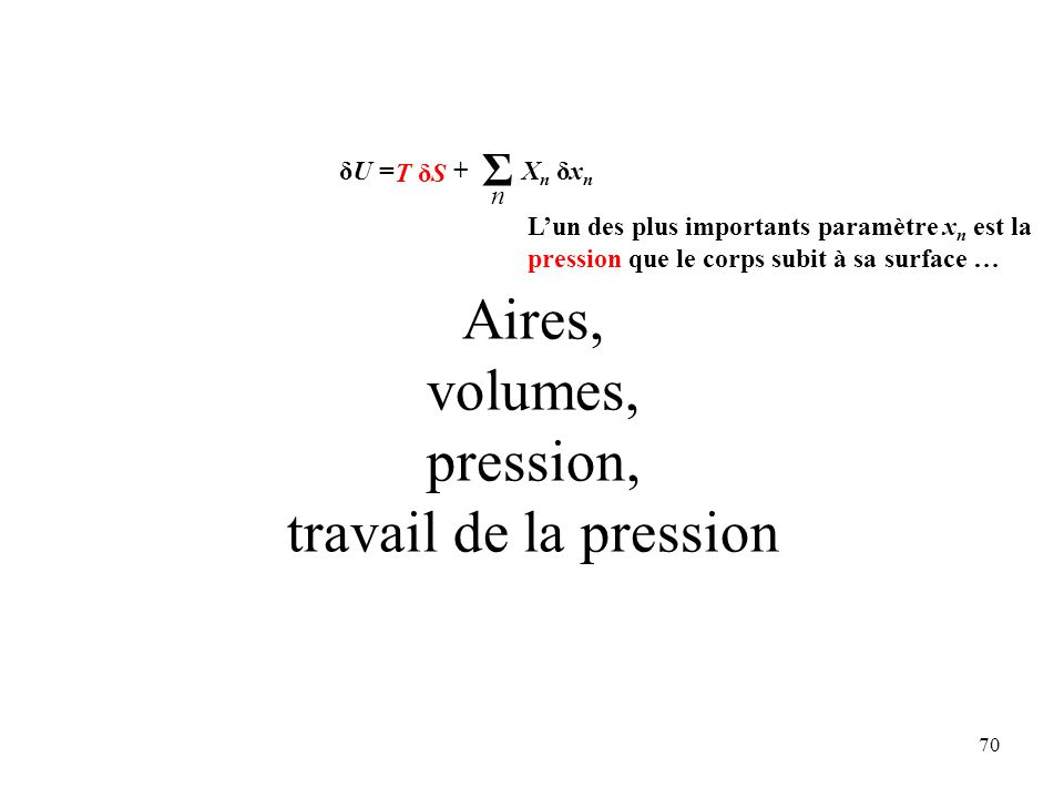 Aires, volumes, pression, travail de la pression