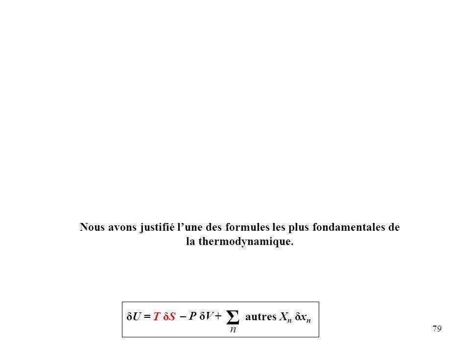 Nous avons justifié l'une des formules les plus fondamentales de la thermodynamique.