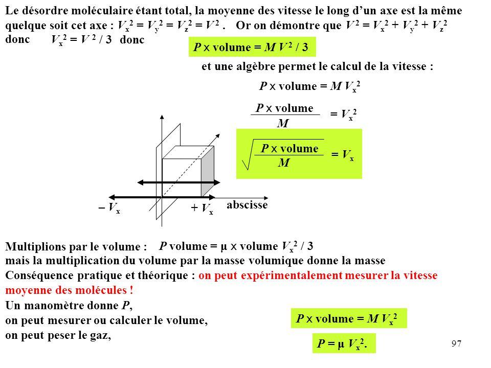 Le désordre moléculaire étant total, la moyenne des vitesse le long d'un axe est la même quelque soit cet axe : Vx2 = Vy2 = Vz2 = V 2 .