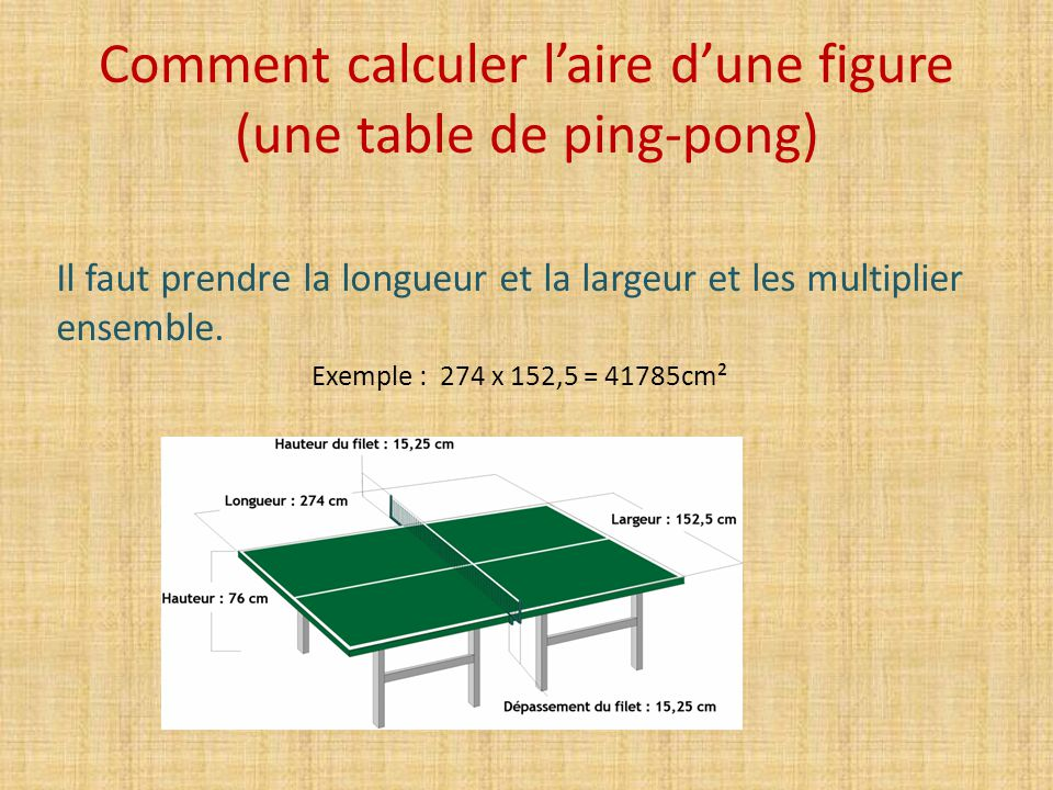 Comment calculer l'aire d'une figure (une table de ping-pong)