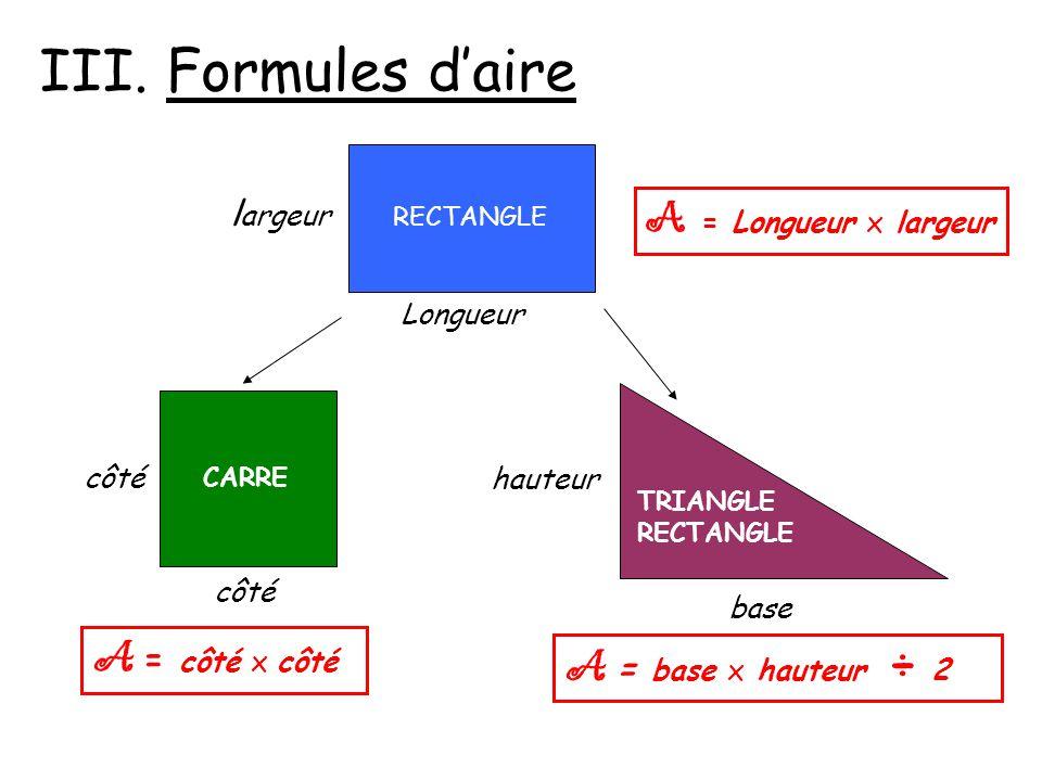 III. Formules d'aire A = Longueur x largeur A = côté x côté