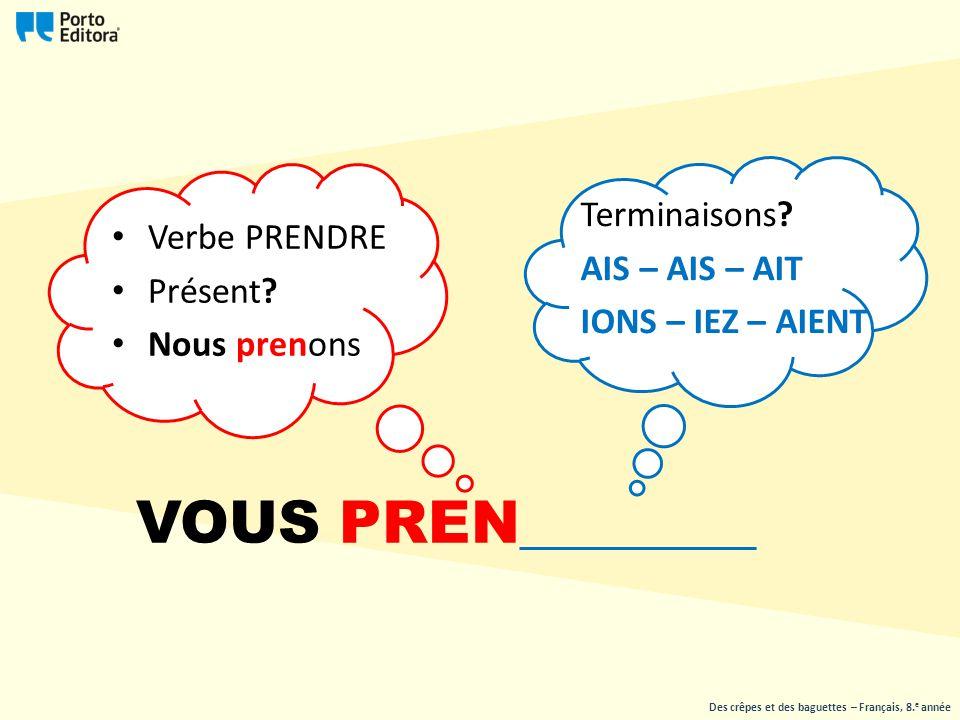 VOUS PREN________ Terminaisons AIS – AIS – AIT IONS – IEZ – AIENT