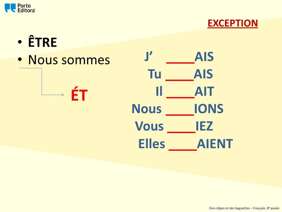 EXCEPTION ÊTRE. Nous sommes. J' ____AIS Tu ____AIS Il ____AIT Nous ____IONS Vous ____IEZ Elles ____AIENT