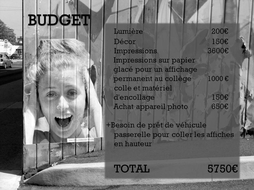 BUDGET Lumière 200€ TOTAL 5750€ Décor 150€ Impressions 3600€