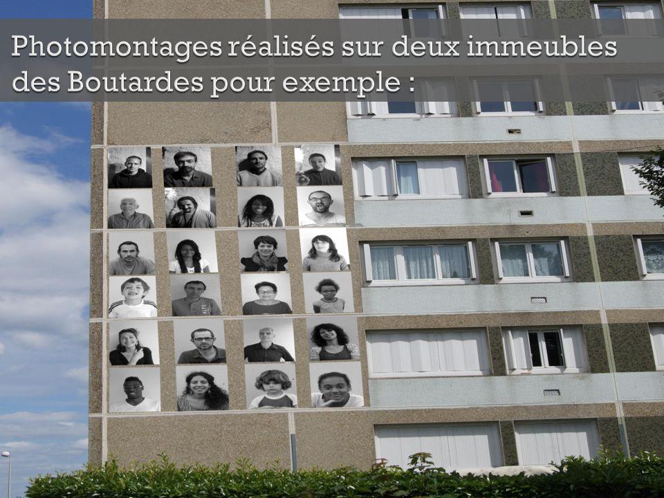 Photomontages réalisés sur deux immeubles des Boutardes pour exemple :
