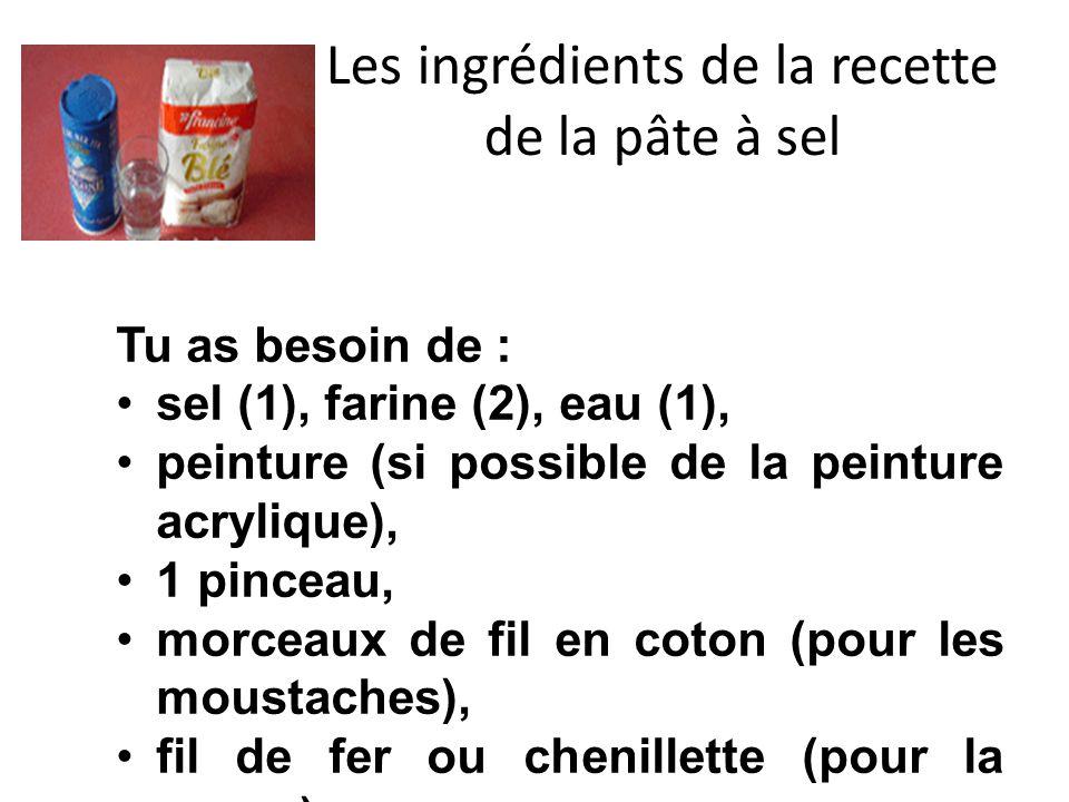Les ingrédients de la recette de la pâte à sel