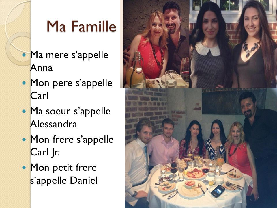 Ma Famille Ma mere s'appelle Anna Mon pere s'appelle Carl