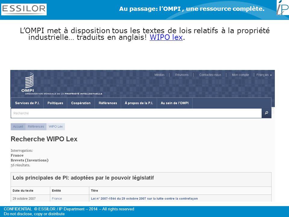 Au passage: l'OMPI , une ressource complète.