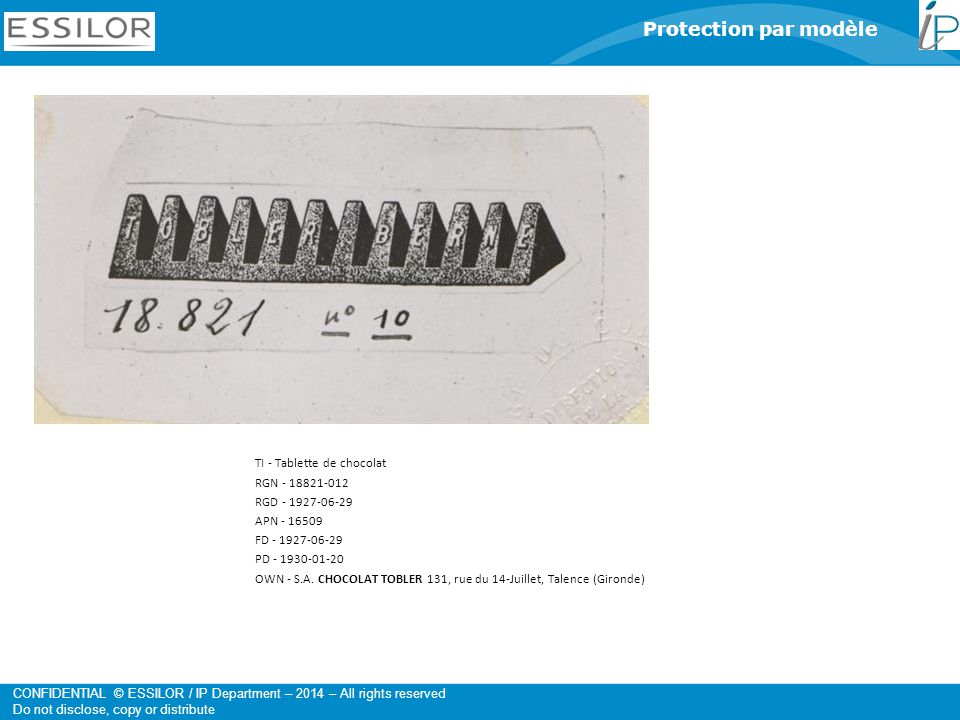 Protection par modèle TI - Tablette de chocolat RGN - 18821-012