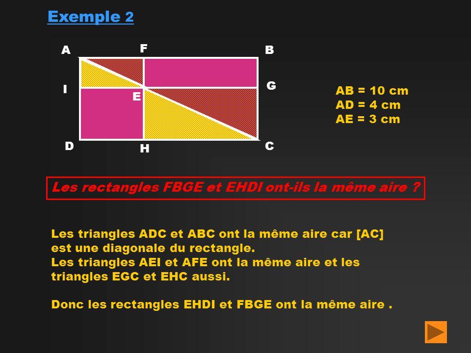 Exemple 2 Les rectangles FBGE et EHDI ont-ils la même aire A F B G I