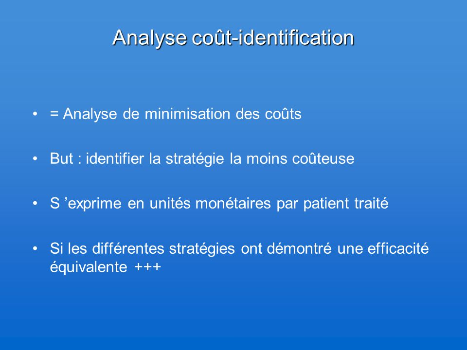 Analyse coût-identification
