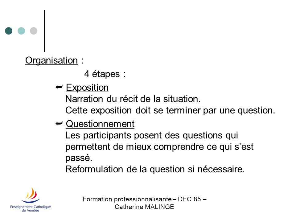 Formation professionnalisante – DEC 85 – Catherine MALINGE