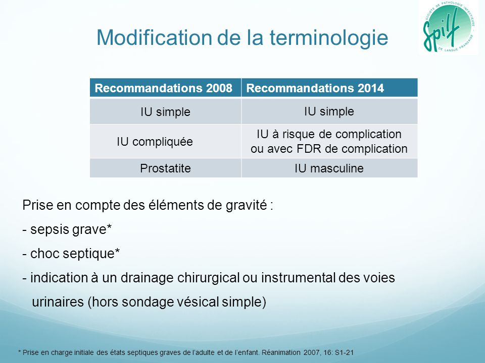 Modification de la terminologie