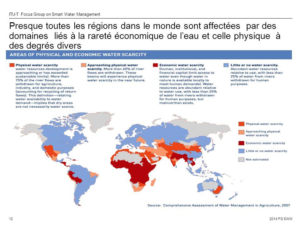 Presque toutes les régions dans le monde sont affectées par des domaines liés à la rareté économique de l'eau et celle physique à des degrés divers