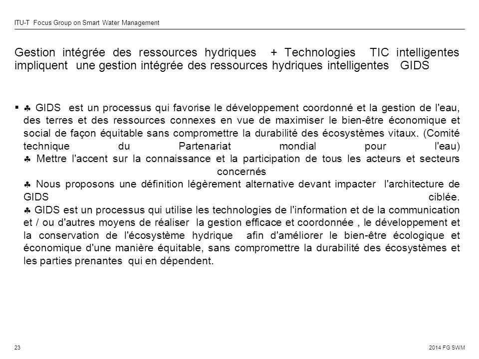 Gestion intégrée des ressources hydriques + Technologies TIC intelligentes impliquent une gestion intégrée des ressources hydriques intelligentes GIDS