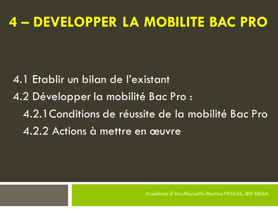 4 – DEVELOPPER LA MOBILITE BAC PRO