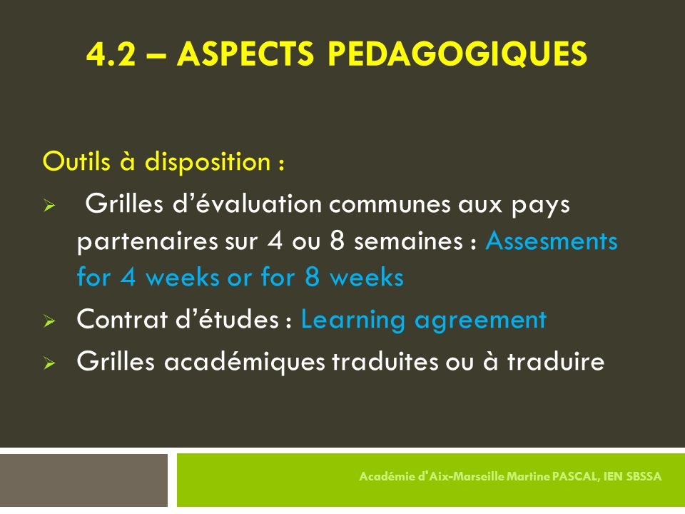 4.2 – ASPECTS PEDAGOGIQUES