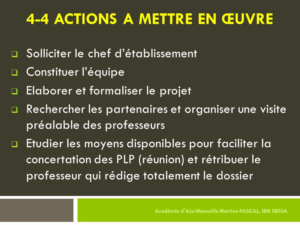 4-4 ACTIONS A METTRE EN ŒUVRE