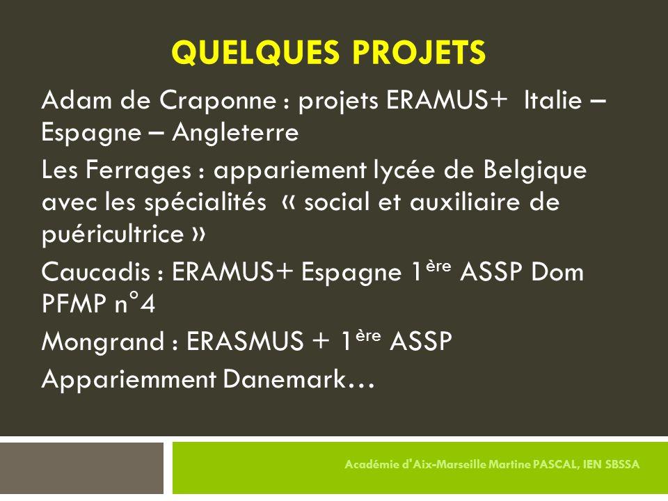 QUELQUES PROJETS Adam de Craponne : projets ERAMUS+ Italie – Espagne – Angleterre.