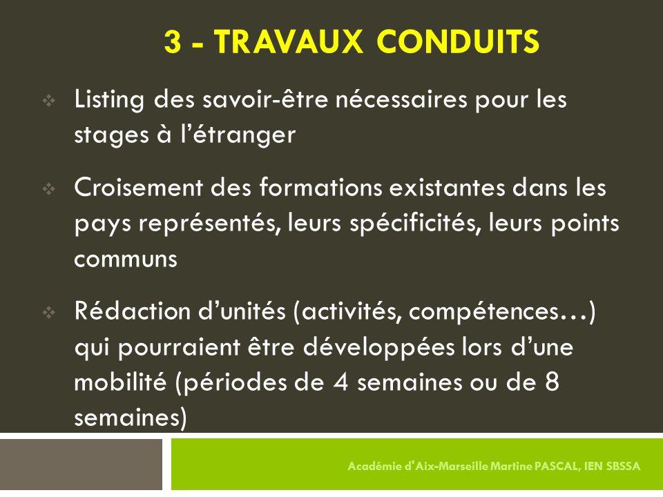 3 - TRAVAUX CONDUITS Listing des savoir-être nécessaires pour les stages à l'étranger.