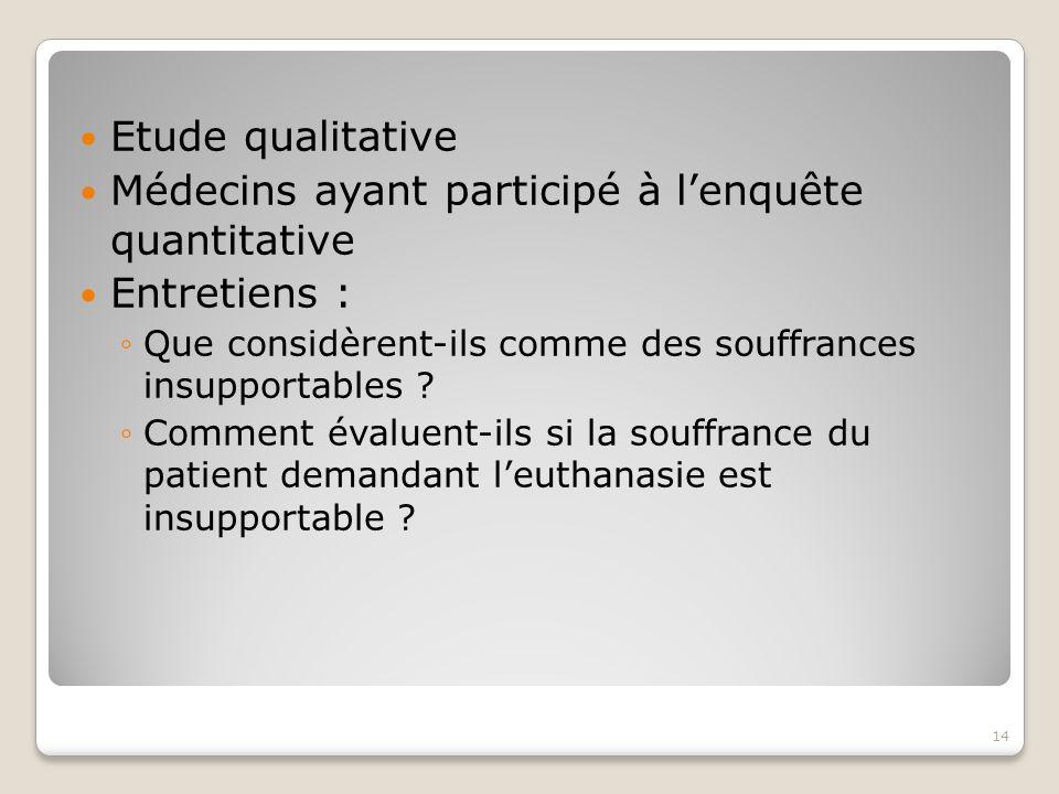 Médecins ayant participé à l'enquête quantitative Entretiens :