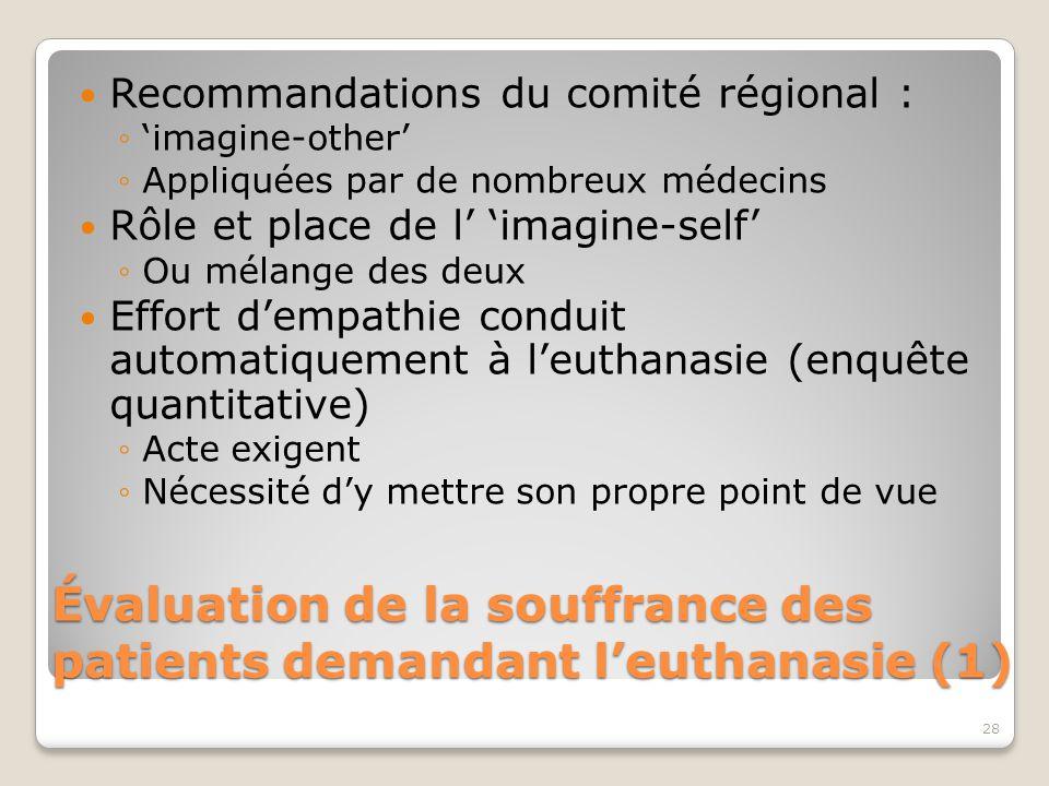Évaluation de la souffrance des patients demandant l'euthanasie (1)
