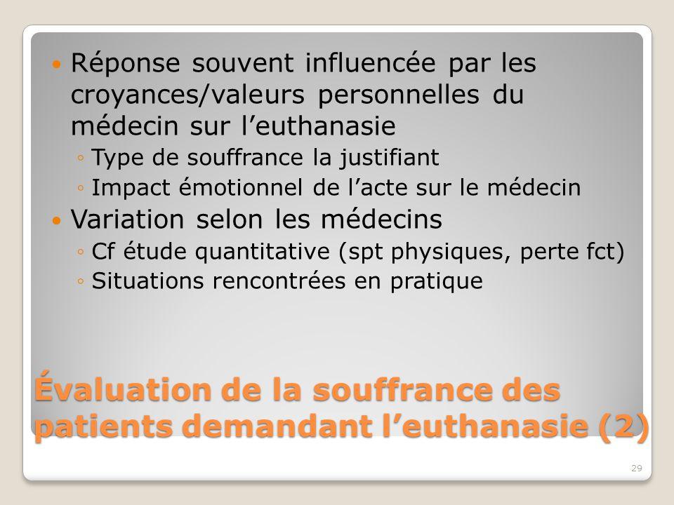 Évaluation de la souffrance des patients demandant l'euthanasie (2)