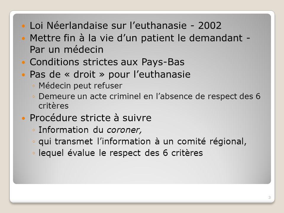 Loi Néerlandaise sur l'euthanasie - 2002
