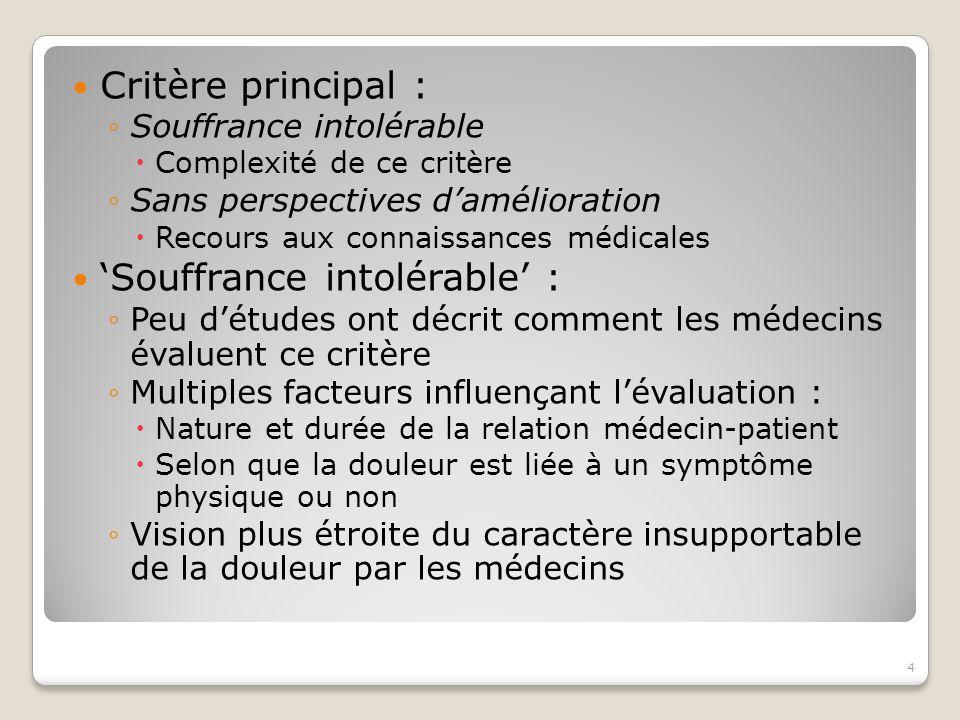 'Souffrance intolérable' :