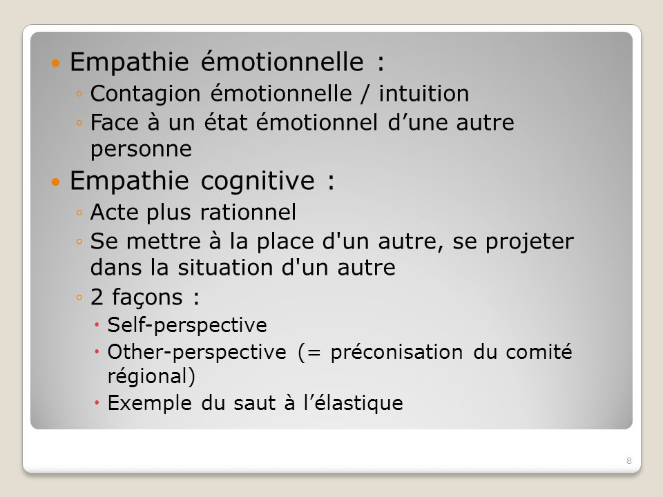 Empathie émotionnelle :