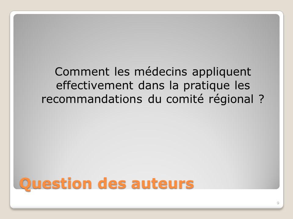 Comment les médecins appliquent effectivement dans la pratique les recommandations du comité régional