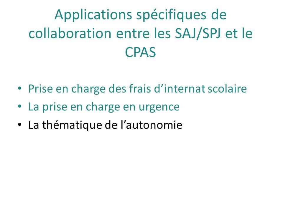 Applications spécifiques de collaboration entre les SAJ/SPJ et le CPAS