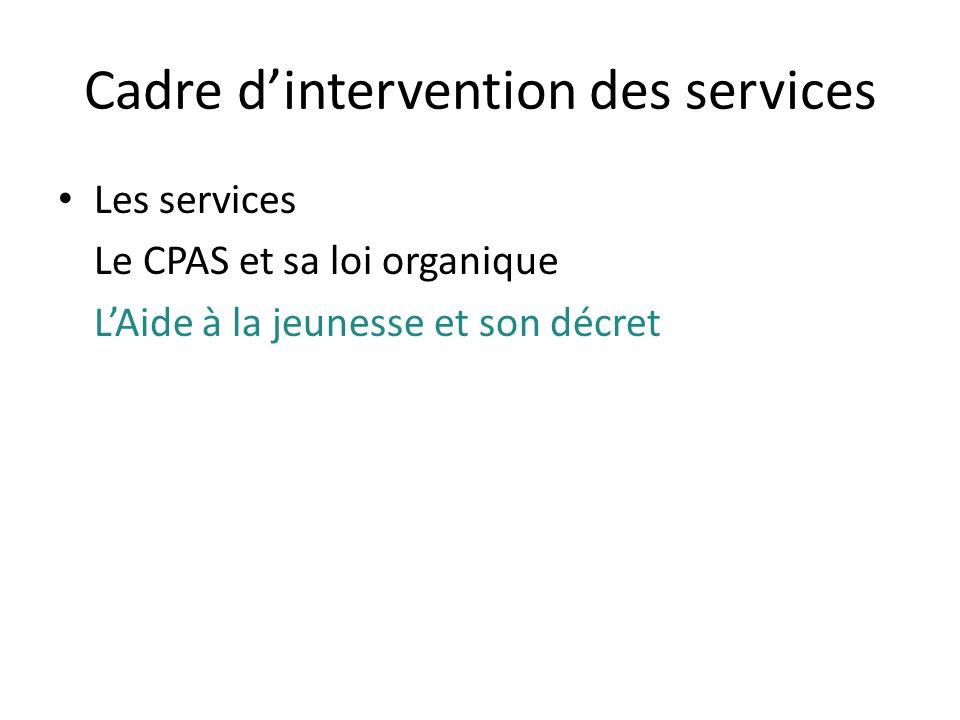 Cadre d'intervention des services
