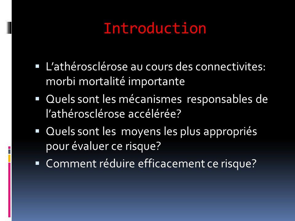 Introduction L'athérosclérose au cours des connectivites: morbi mortalité importante.