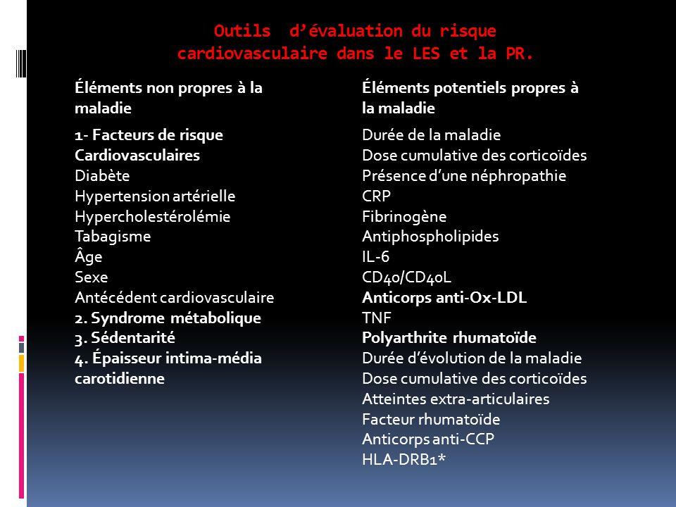 Outils d'évaluation du risque cardiovasculaire dans le LES et la PR.