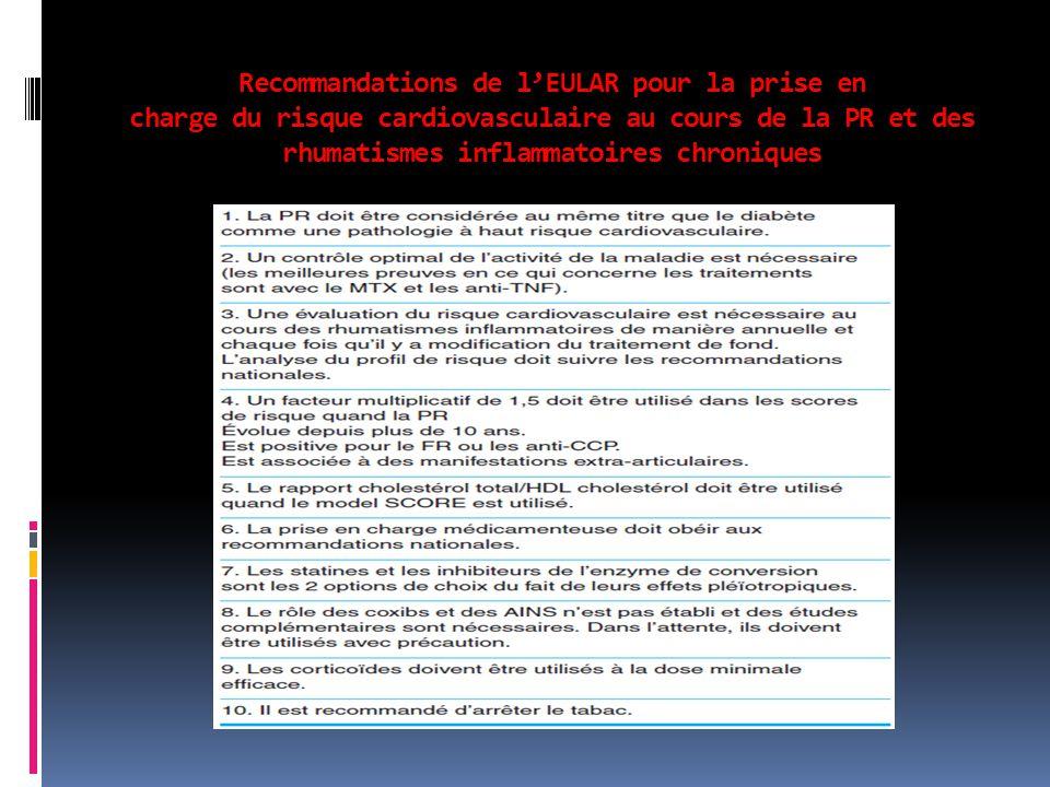 Recommandations de l'EULAR pour la prise en charge du risque cardiovasculaire au cours de la PR et des rhumatismes inflammatoires chroniques