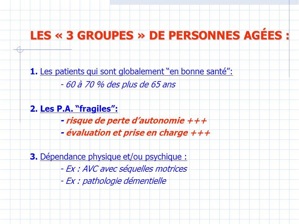 LES « 3 GROUPES » DE PERSONNES AGÉES :