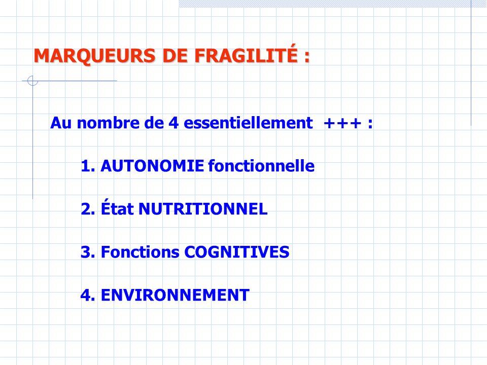 MARQUEURS DE FRAGILITÉ :