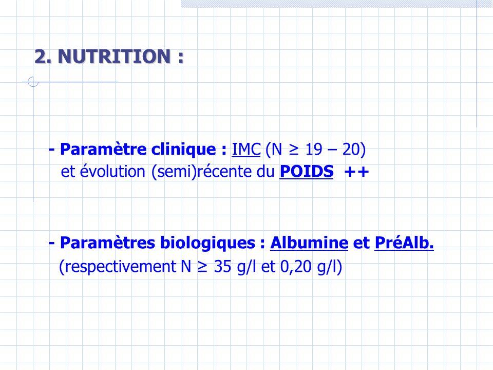 2. NUTRITION : - Paramètre clinique : IMC (N ≥ 19 – 20)