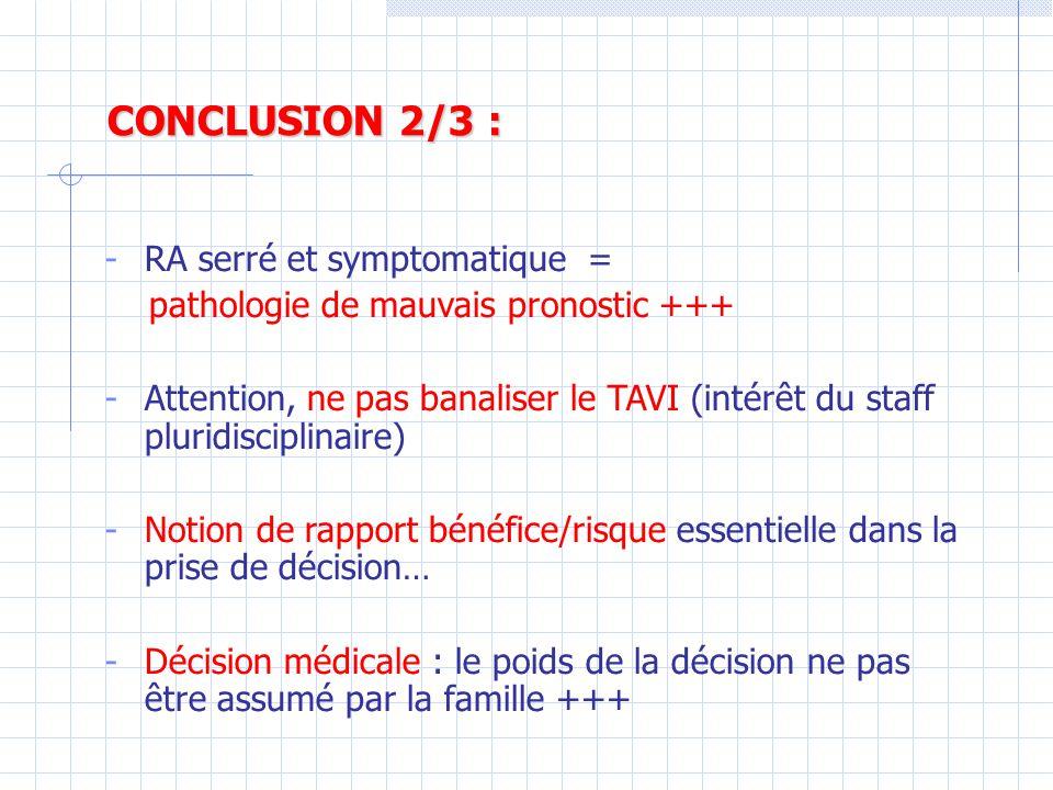 CONCLUSION 2/3 : RA serré et symptomatique =