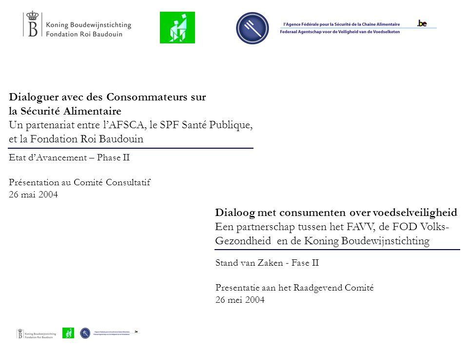 Dialoguer avec des Consommateurs sur la Sécurité Alimentaire Un partenariat entre l'AFSCA, le SPF Santé Publique, et la Fondation Roi Baudouin