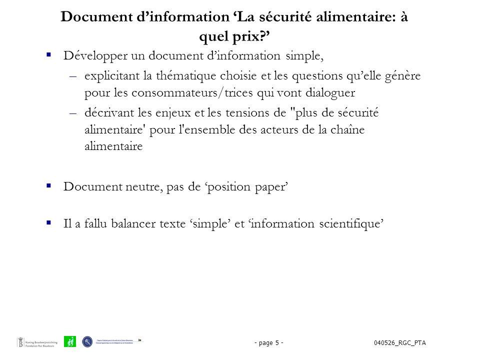 Document d'information 'La sécurité alimentaire: à quel prix '