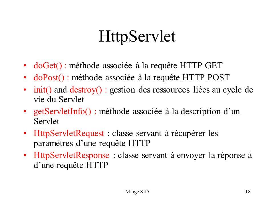 HttpServlet doGet() : méthode associée à la requête HTTP GET