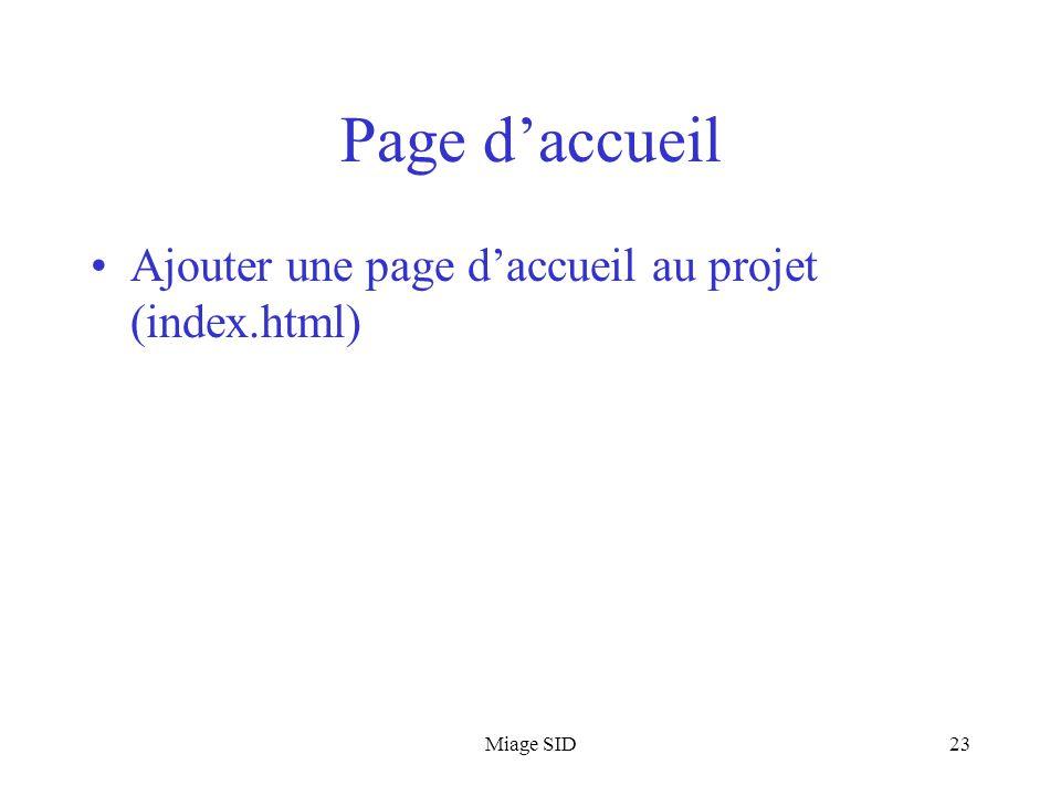 Page d'accueil Ajouter une page d'accueil au projet (index.html)