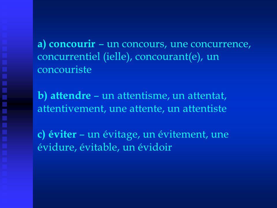 a) concourir – un concours, une concurrence, concurrentiel (ielle), concourant(e), un concouriste b) attendre – un attentisme, un attentat, attentivement, une attente, un attentiste c) éviter – un évitage, un évitement, une évidure, évitable, un évidoir