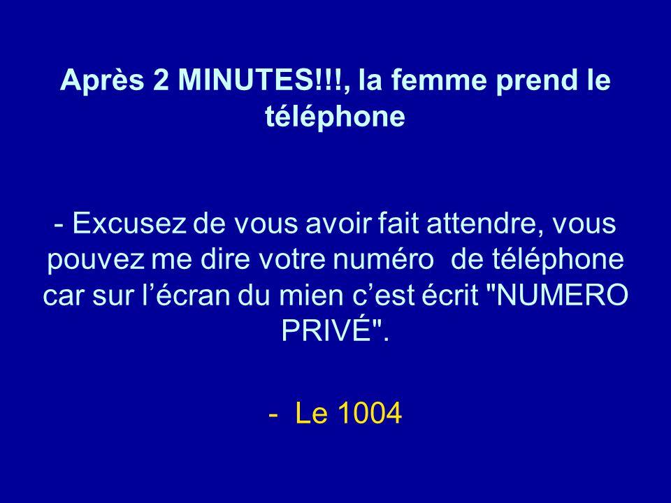 Après 2 MINUTES!!!, la femme prend le téléphone - Excusez de vous avoir fait attendre, vous pouvez me dire votre numéro de téléphone car sur l'écran du mien c'est écrit NUMERO PRIVÉ .
