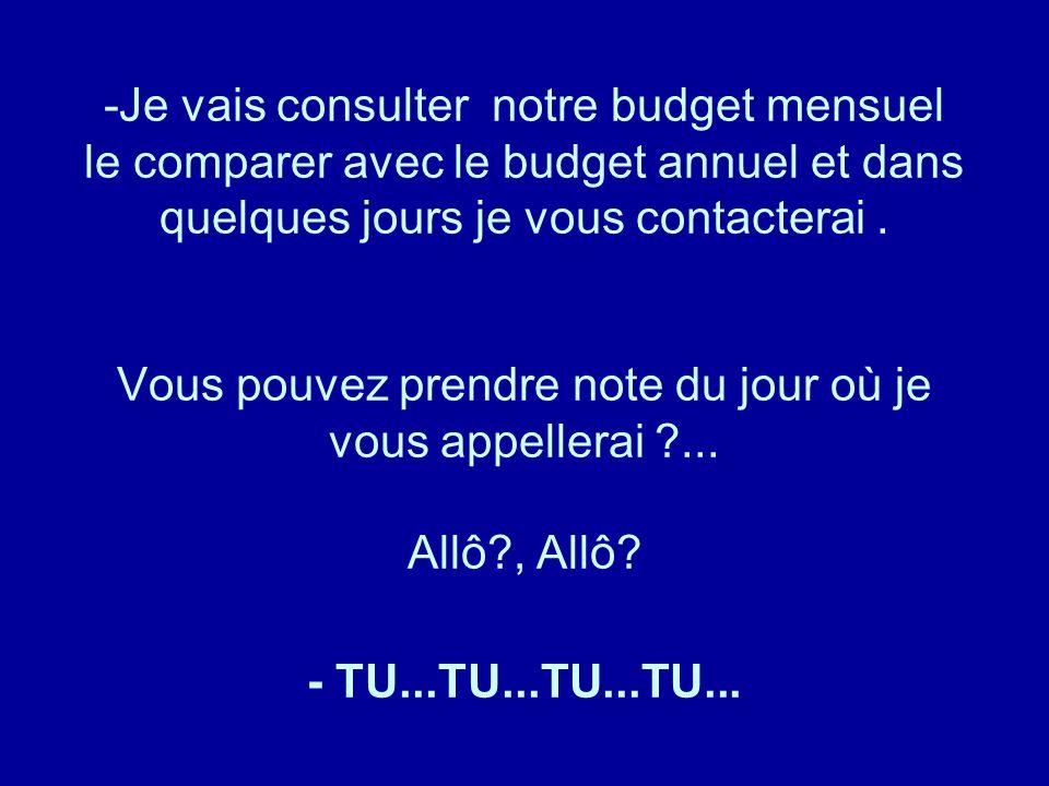 Je vais consulter notre budget mensuel le comparer avec le budget annuel et dans quelques jours je vous contacterai .
