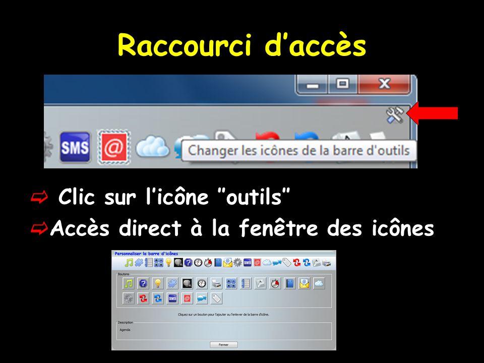 Raccourci d'accès Clic sur l'icône ″outils″