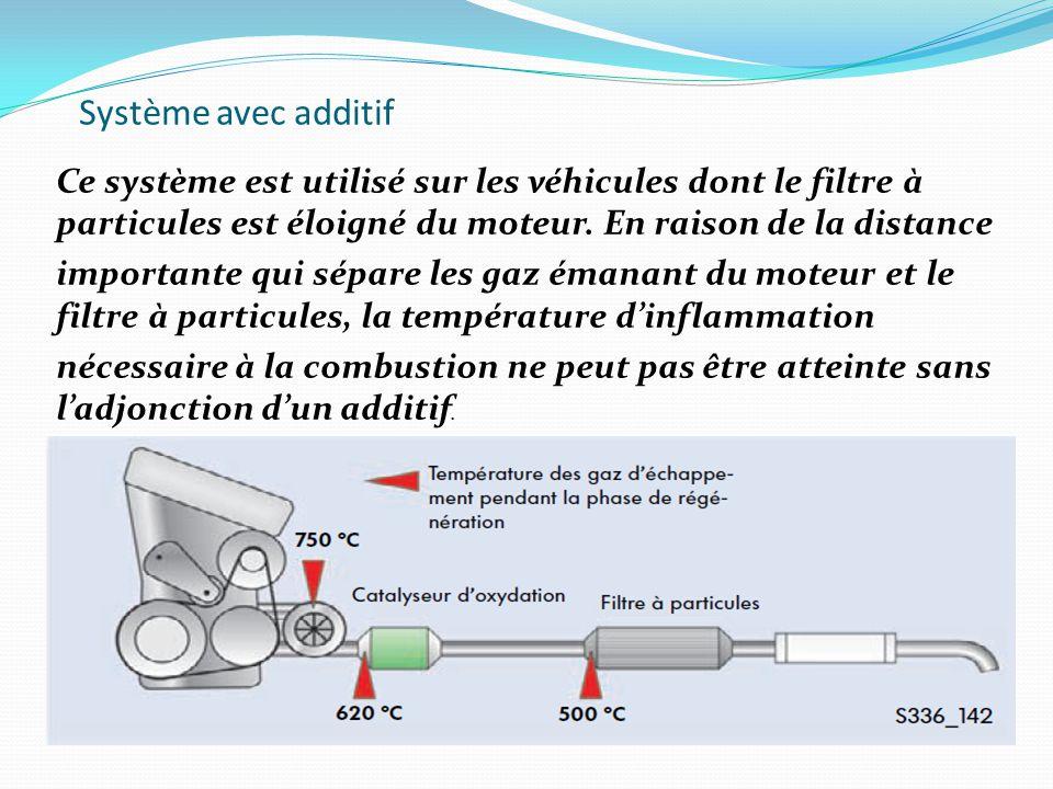 Système avec additif Ce système est utilisé sur les véhicules dont le filtre à particules est éloigné du moteur. En raison de la distance.
