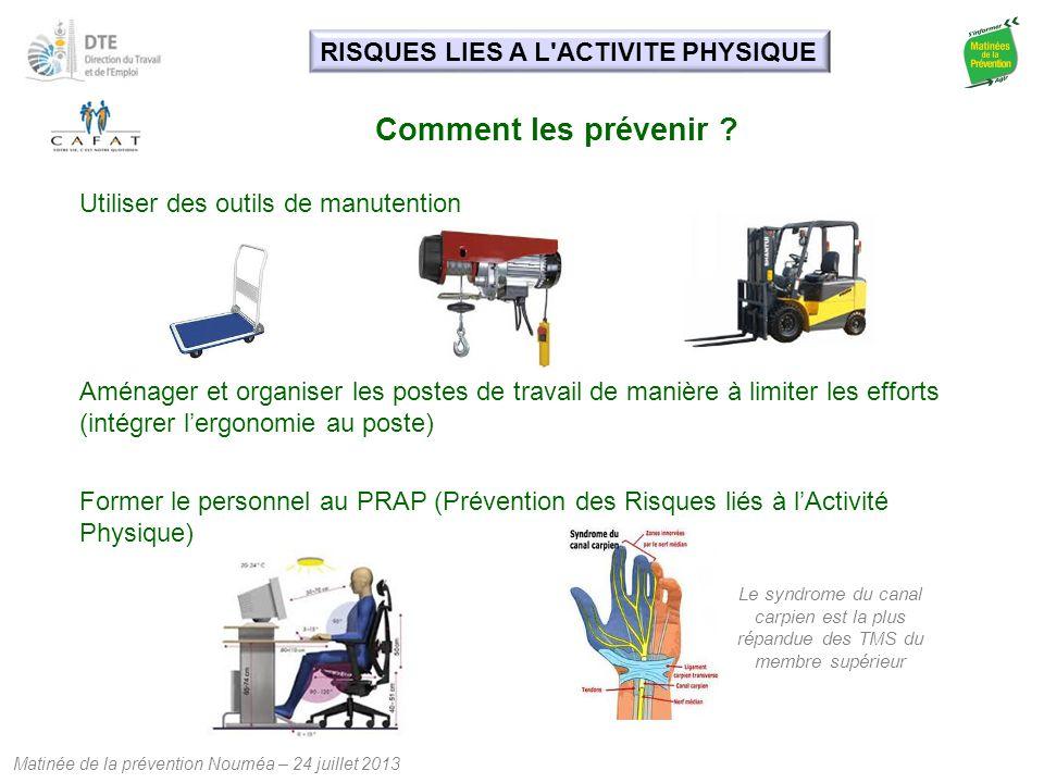 Comment les prévenir RISQUES LIES A L ACTIVITE PHYSIQUE
